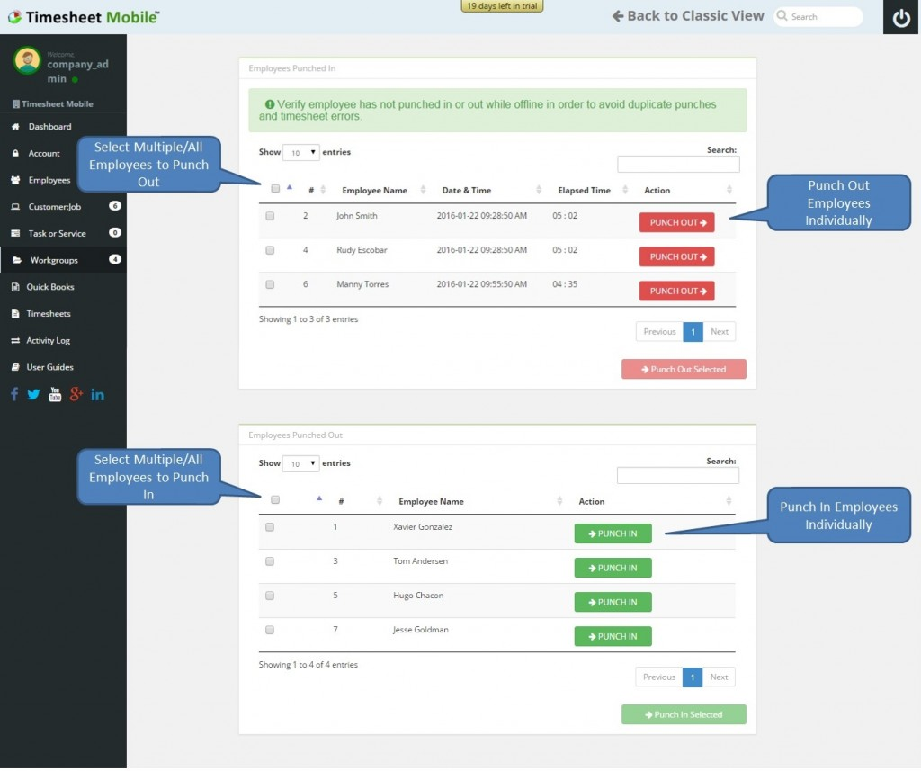 workgroup punch construction team timekeeping tool