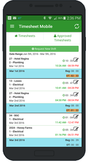 employee timesheet app approvals