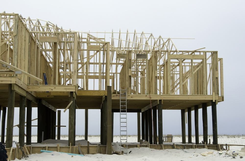 Beach house under construction in hurricane zone on a barrier island in the Florida panhandle